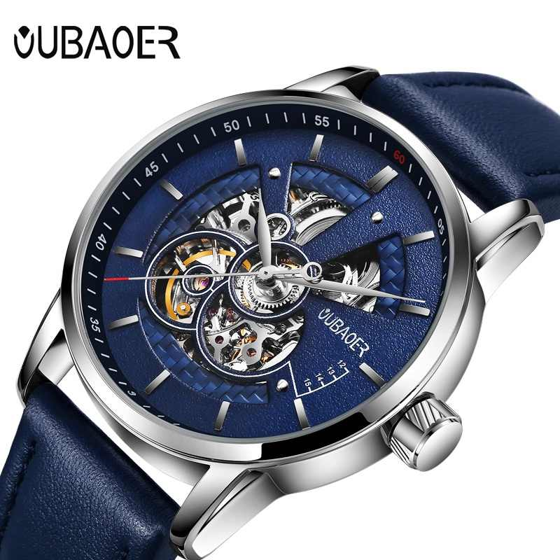Luxury Fashion Automatic Mechanical Leather Male Watch OUBAOER Top Brand Business Sport Waterproof Skeleton Watches For Men