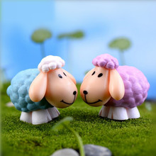 2pcs/set Mini Artificial Sheet Dolls DIY Goat toys Garden Plant Decoration,Home Decor Gift Goats DuoROU Garden Ornament