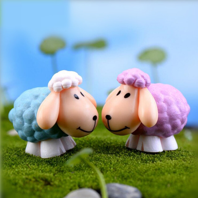 2pcs/set Mini Artificial Sheet Dolls DIY Goat Toys Garden Plant Decoration,Home  Decor
