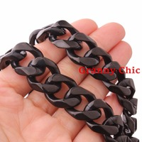 Granny Chic High Quality 23 6 15mm 316L Stainless Steel Black Color Men Women Cuban Chain