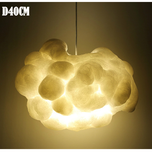 Creative Cloud Suspension Pendant Light Home Decoration Hanging Lamp For Living Room Bedroom Silk Shade Children room lamps in Pendant Lights from Lights Lighting