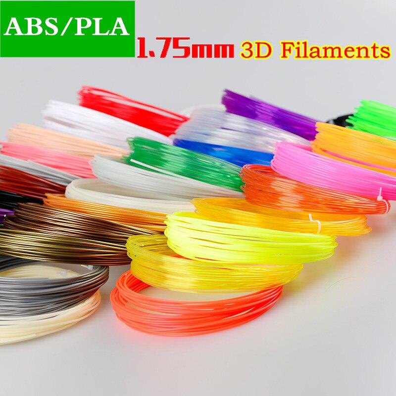 10 / 20 Colores 1.75 mm ABS / PLA Material 3D PLA Filamento 3D 3d Materiais ABS 3D Subministración da impresora Cor aleatoria