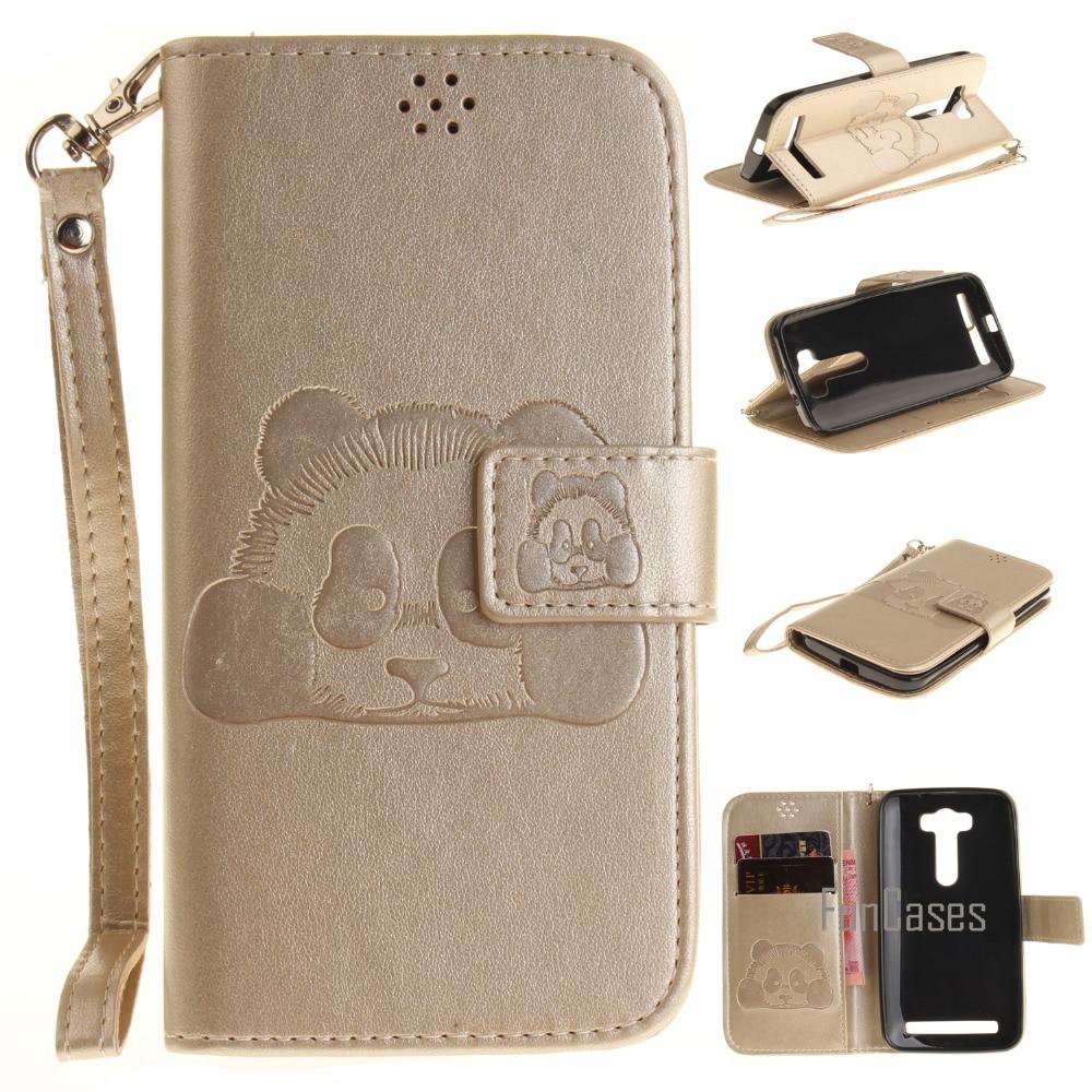 For ASUS Zenfone 2 Laser ZE500KL PU Leather Case 5.0inch Stand Function Card Holder Enbossed Panda Magnetic Flip Wallet Case