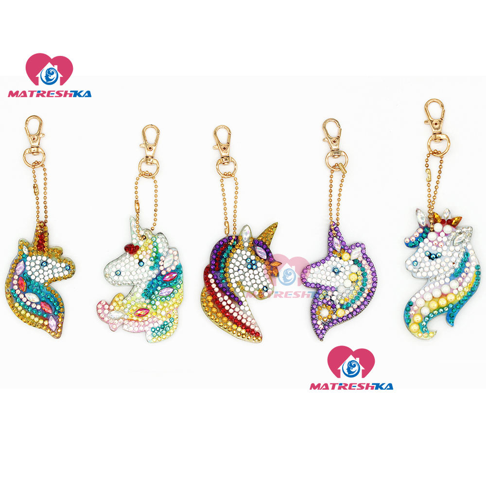 DIY Crystal Pattern Diamond Embroidery 5D Diamond Painting Key Chains Round Unicorn Stickers Double Sided Christmas Decoration(China)