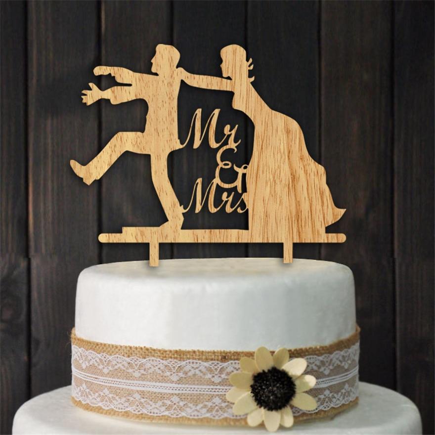 Wood Mr & Mrs Cake Topper Bride And Groom Wedding Cake
