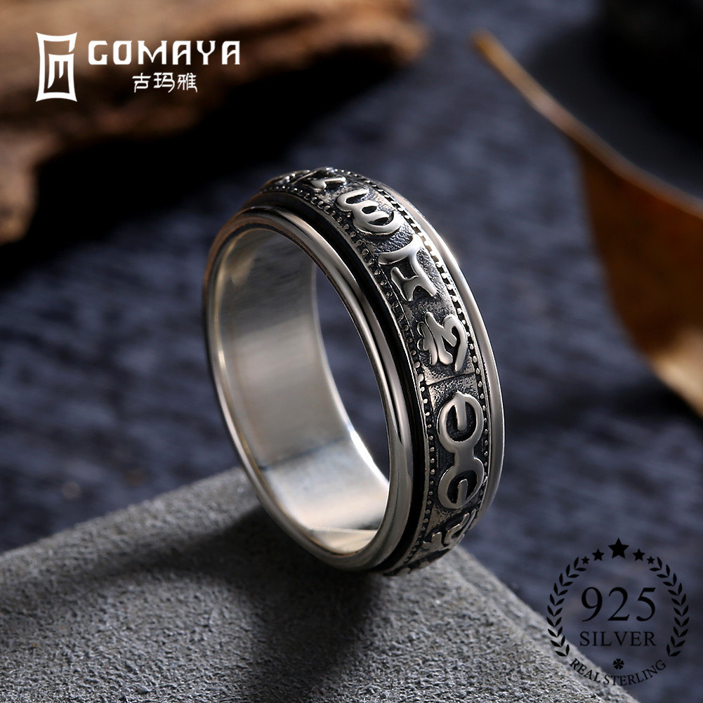 GOMAYA Mens Women 925 Sterling Silver Rings Vintage Punk Rock Ring Fashion Fine Jewelry Wholesale Gift Cocktail Party Anillos