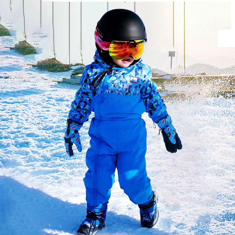 2020 Winter Boys Jumpsuits Fleece Hooded Kids Skiing Pants Windproof Zipper Sport Snow Sets Toddler Bodysuits Outfit Clothes