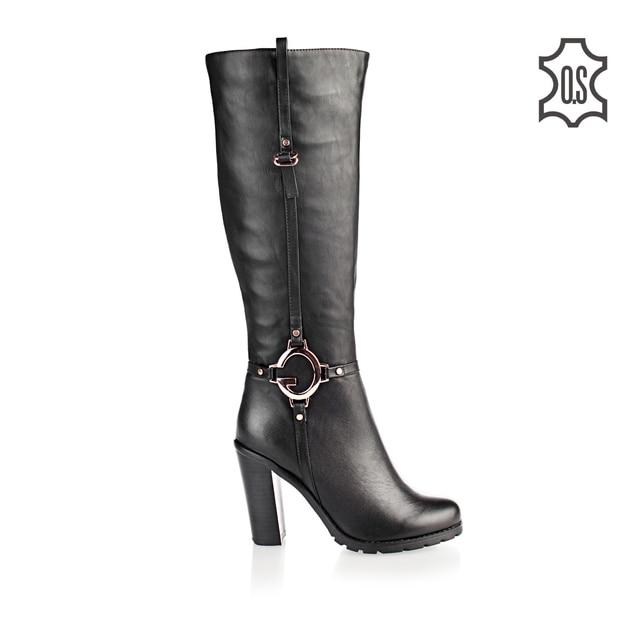 botas de tacón alto 8cm de cuero negro - 38 wXthB