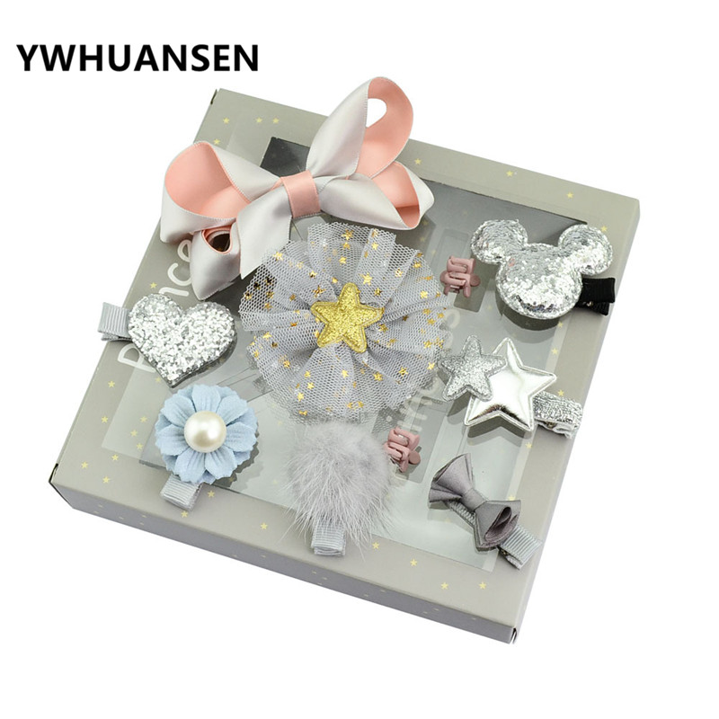 YWHUANSEN 10pcs/lot Baby Girls Hair Accessories Set Gift Hairpins Crown Bowknot Children Hair Clips Present For Kids Hairgrips 12pcs lot 4 inch diy grosgrain ribbon bow with clip kids hairpins children hair accessories 12 colors hairpins factory wholesale