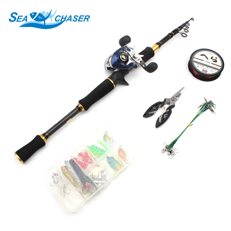Carbon fishing Casting Rod and Casting Reels Set Lures combination line 1.8m 2.7m  telescopic fishing rod fishing fish pole-in Fishing Rods from Sports & Entertainment