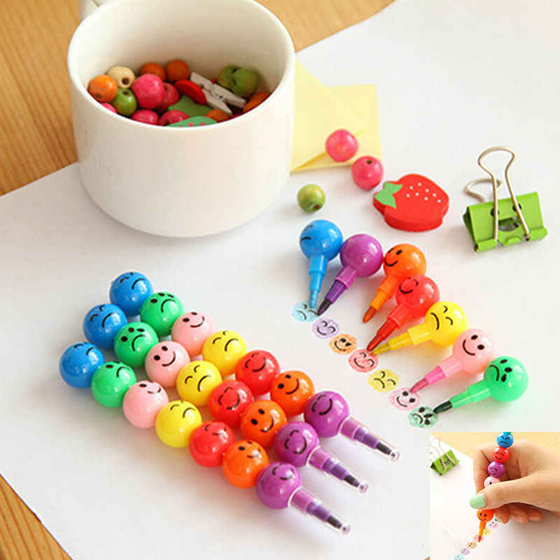 7 Colors Crayons Creative Sugar-Coated Haws Cartoon Smile Graffiti Pen Stationery Gifts For Kids Wax Crayon Pencil