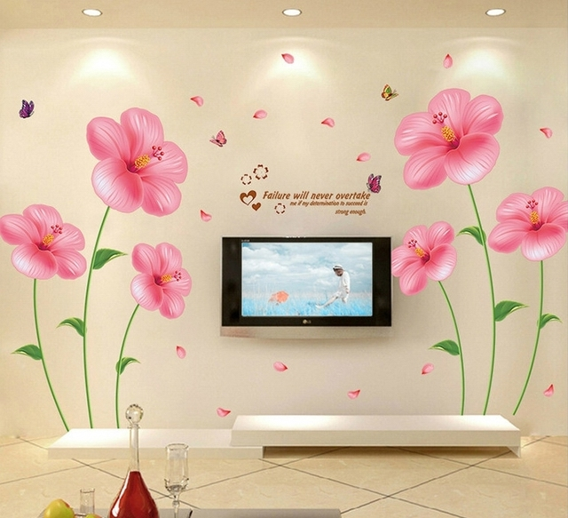 Large Sweet Pink Flower Wall Stickers Decals Girls Removal Plants Vinyls  DIY Wallpaper Home Bedroom Saloon Part 97