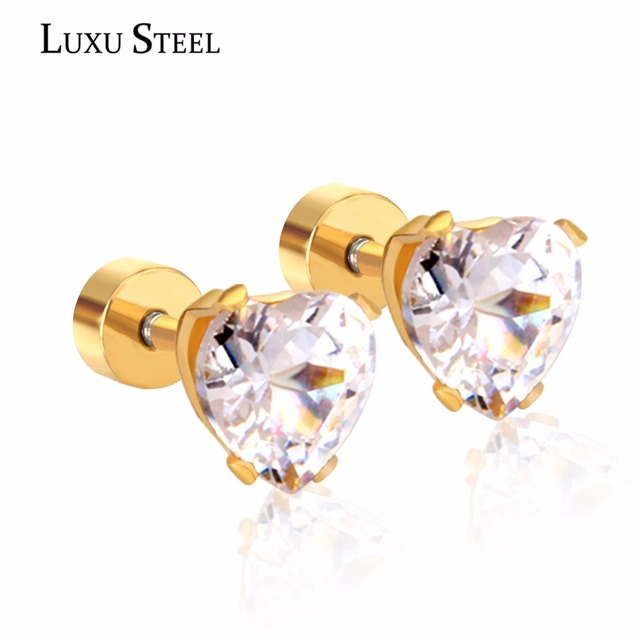 Luxusteel Fashion Heart Shape Crystal Stud Earrings Women Kid Simple Stainless Steel Plug Cubic