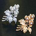 High Quality Pearl Bouquet Flower Brooches Scarf Buckle Pin Silver/Gold Plated Jewelry For Women Day As Gifts Free Shipping