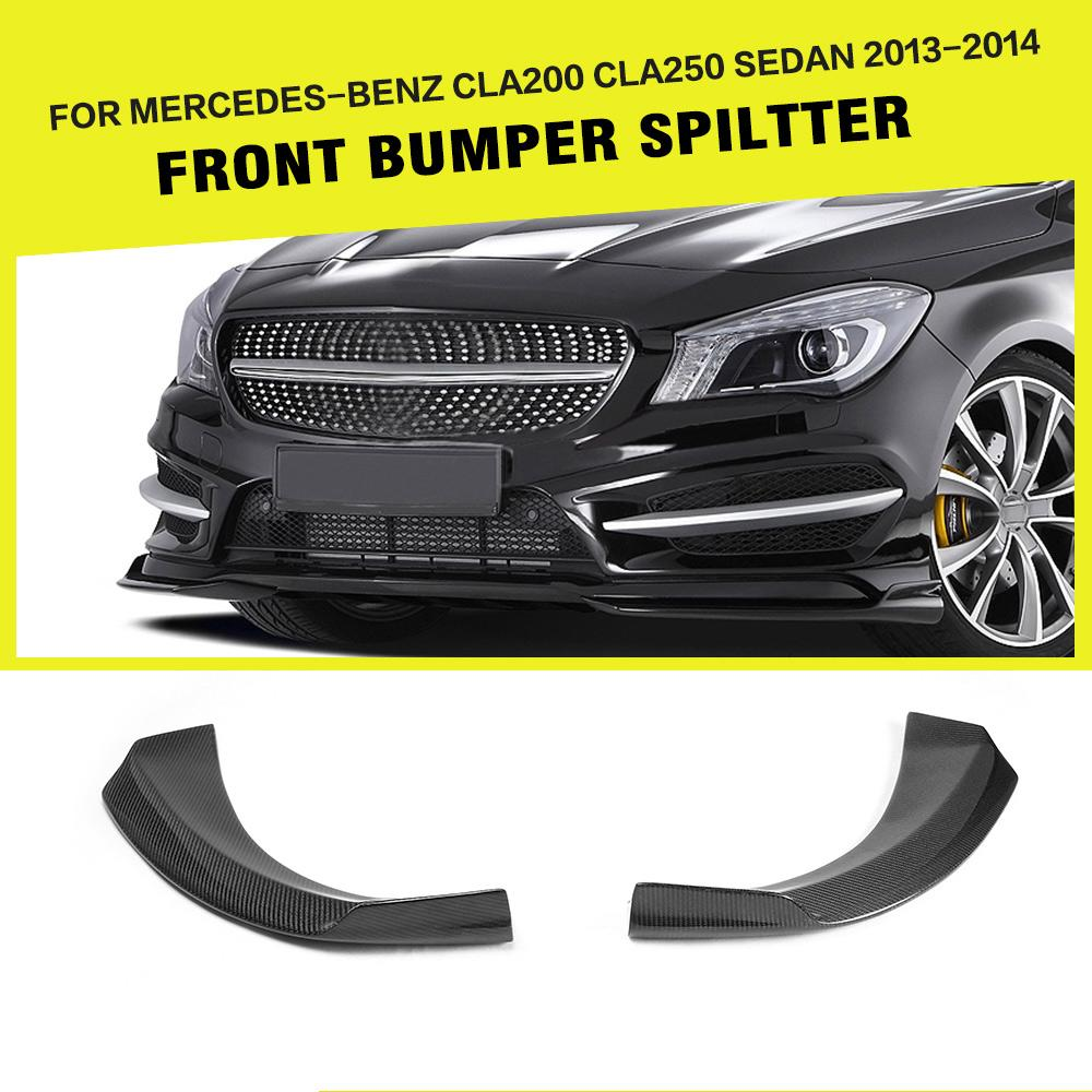 Carbon Fiber / FRP Car Front Bumper Splitters Side Aprons for Mercedes Benz W117 CLA250 CLA260 CLA45 AMG Sedan 4 Door 13UP цена