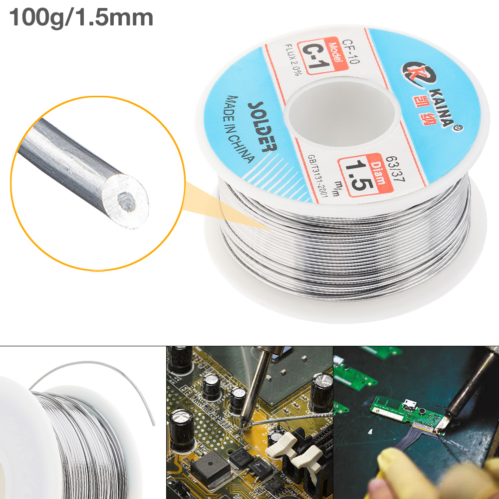 63/37 C-1 100g 1.5mm High Purity No-clean Rosin Core Solder Tin Wire Reel With 2% Flux And Low Melting Point Core Solder Wire