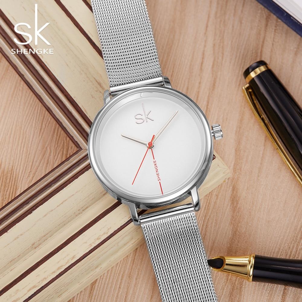 Luxury SK Women Watches Ultra Thin Stainless Steel Band Analog Quartz Watch Waterproof Woman Wrist Watch Relogio Feminino shifenmei 2136 ultra thin smart steel band watch
