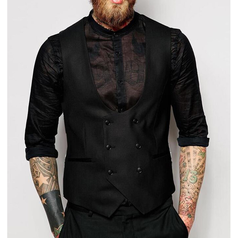2018 New British Style Vest Slim Woollen cloth Double Breasted Sleeveless Jacket Waistcoat Men Suit Vest Mens Vests