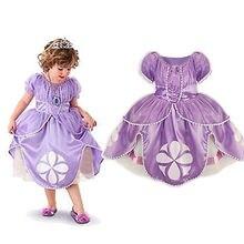 2016 girl dress Kids Girls Little Sophia Princess Party Fancy Dress Up Cosplay Party Costume 2-7