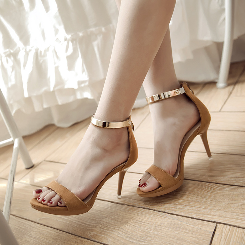 Women Sandals sexy high toeplatform heels Open toe ladies high-heeled shoes Female Ankle Strap suede Party Ladies Stiletto summer roma style women buckle strap sandals ankle strap open toe high heeled female dress party sandals shoes