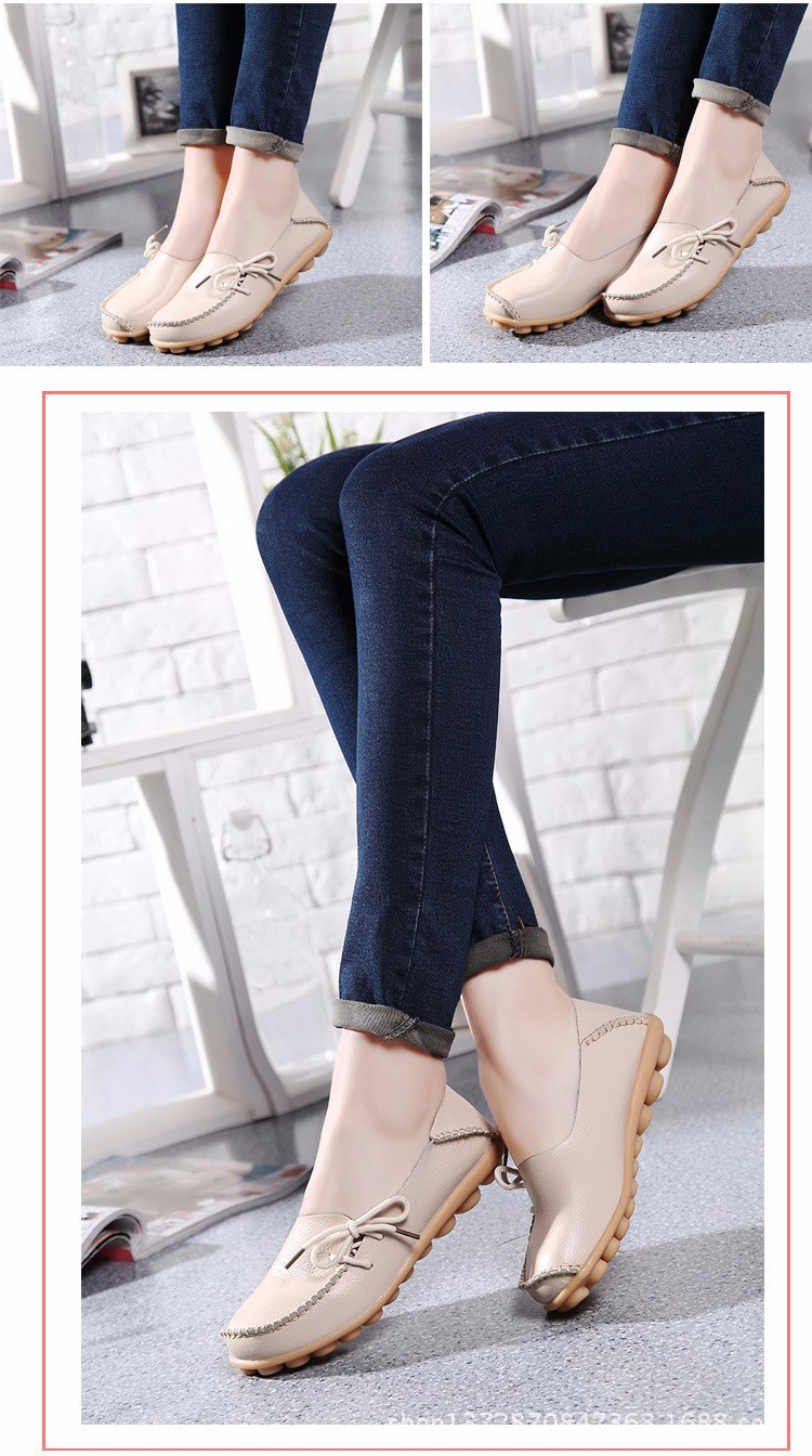 2016 New Real Leather Woman Flats Moccasins Mother Loafers Lacing Female Driving Casual Shoes In 16 Colors Size 34-44 ST179 (33)