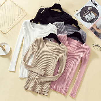 Pullover Knit Sweater Women 2019 Winter Clothes Women Jumper V Neck Soft Rib Knitted Winter Tops Knitwear Pull Femme Sweaters 2