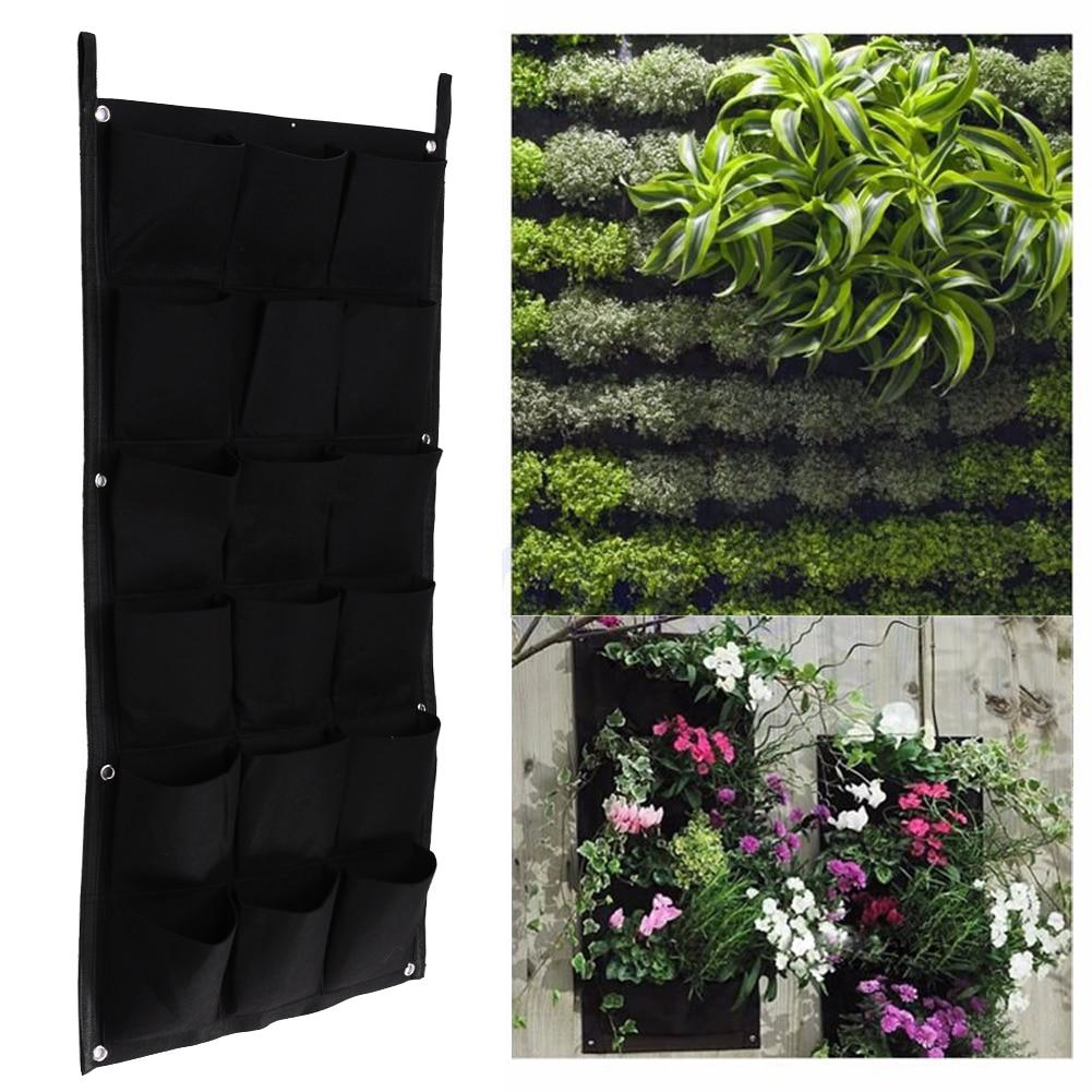 18 Pockets Vertical Garden Flower Pots Hanging Plant Pots Green Wall Pot And Planter Balcony Garden Decoration 50cm*100cm