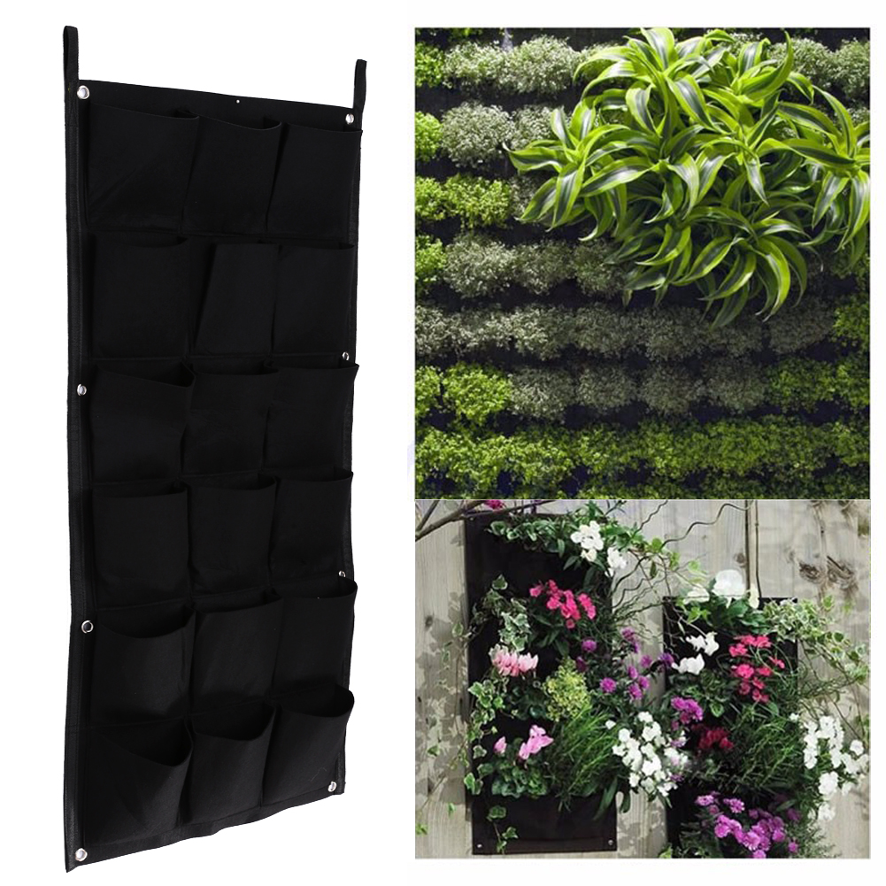18 карманов вертикальный сад цветочные горшки Висят Горшки зеленая стена горшок и кашпо 50 см * 100 см