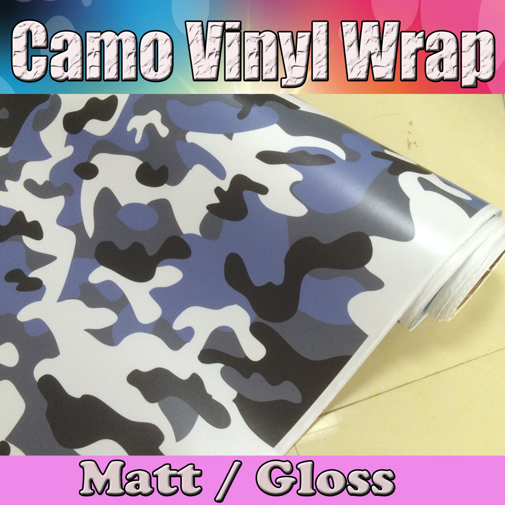 Small Blue / white black snow Camo Car Wrap Film Air Bubble Free Vehicle boat Camouflage Covering styling size 1.52x30mSmall Blue / white black snow Camo Car Wrap Film Air Bubble Free Vehicle boat Camouflage Covering styling size 1.52x30m