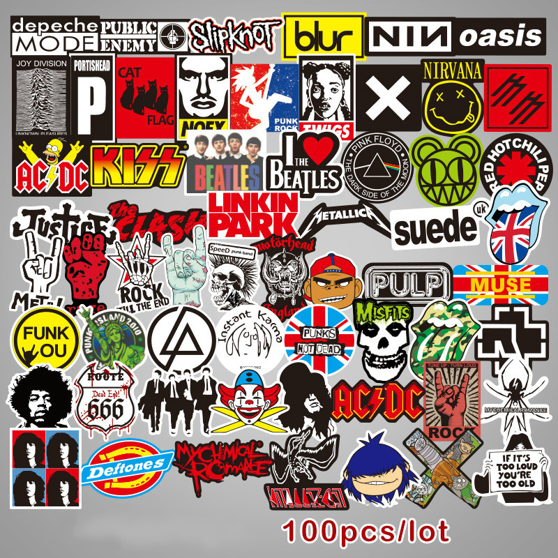 100 pcs/pack Rock Band Stickers Toys For Suitcase Laptop Luggage Skateboard Car sticker