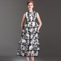 Classic Women Dresses 2017 Summer Fashion Sleeveless Flowers Embroidery Black White Elegant Layers High End Hot