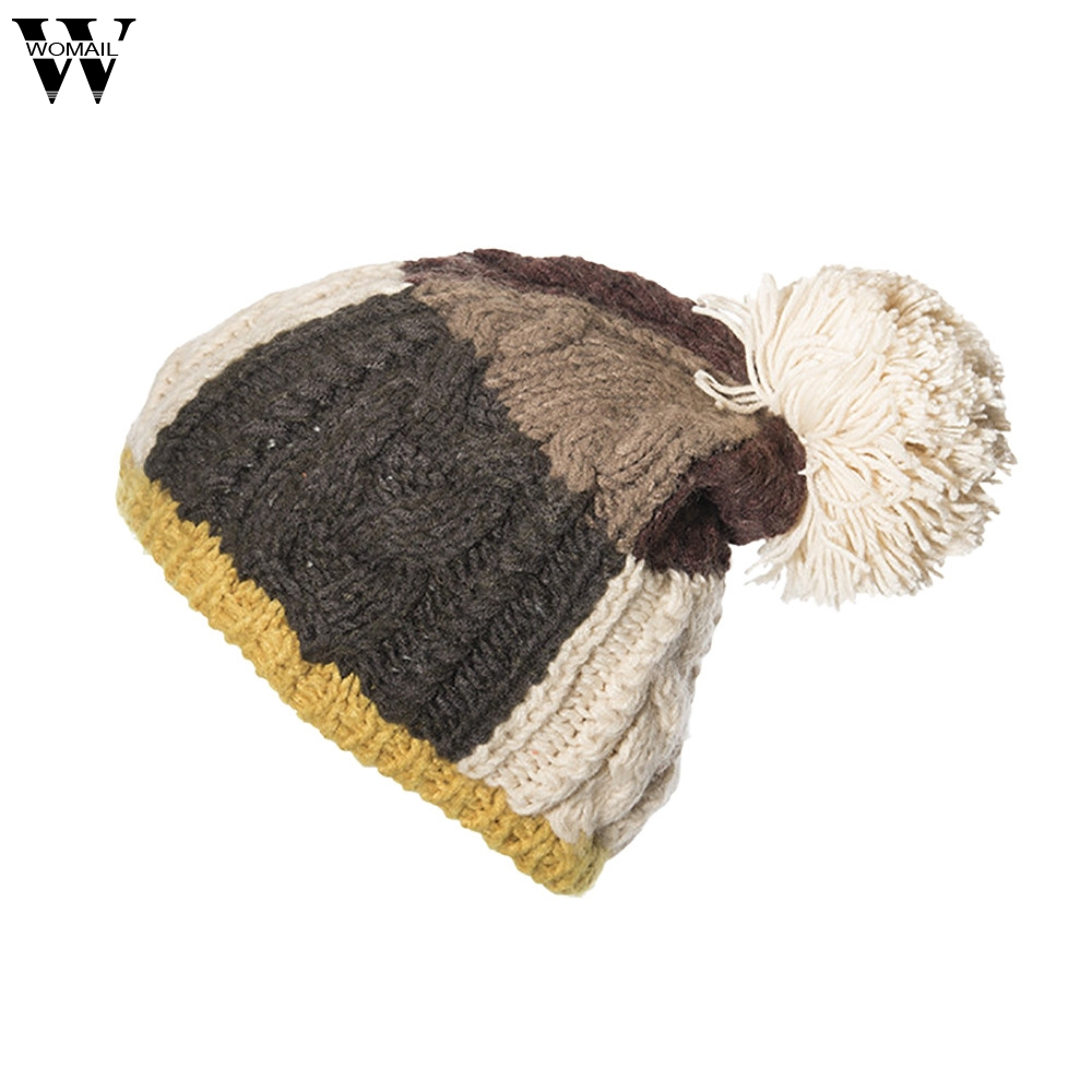 New Hats 1PC Women Cable Knitted Bobble Hat Plain Mens Womens Beanie Warm  Winter Pom Wooly c499845c4ff