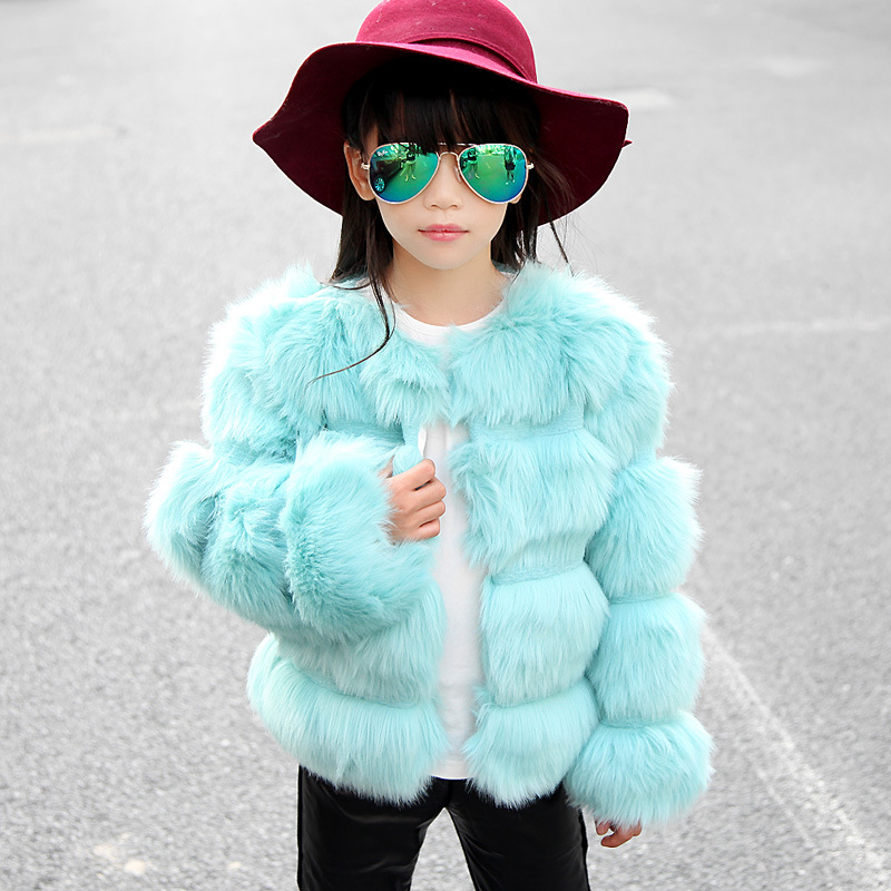 JKP Girl fur coat winter children thickening quilted imitation fur sweater 2018 high-end winter clothing fashion Jackets FPC-110 v neckline fur cuff sweater page 7