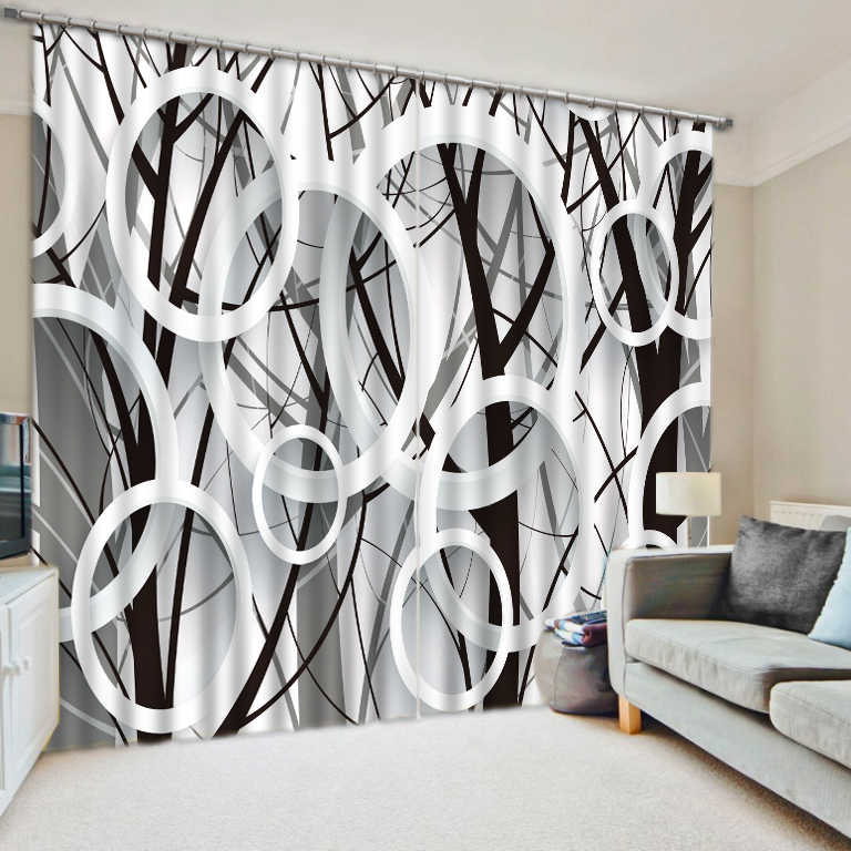 Modern Blackout Window Curtain Luxury 3D Curtains For Living Room Bedroom Black white circle Design Sheer Curtains Drapes
