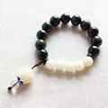 Wholesale Black Obsidian With Bodhi Seed Beads Stretch Bracelet Femme Zen Buddhism Prayer Mala Bracelet Yoga Meditation Jewelry