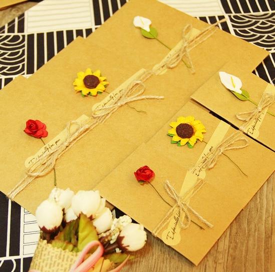 Kraft Papier Enveloppes Avec Carte Dinsertion Fleur Invitations De Mariage Des Enseignants Jour Visite 10 Ensemble Lot