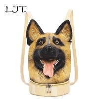 LJT 2017 Winter Creative Personality Women Shoulder Bag 3D Stereo Cool Dog PU Leather Cute Cartoon