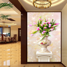 Custom mural a bottle of beautiful tulips flowers wallpaper decorate home vivid wall decor good mood