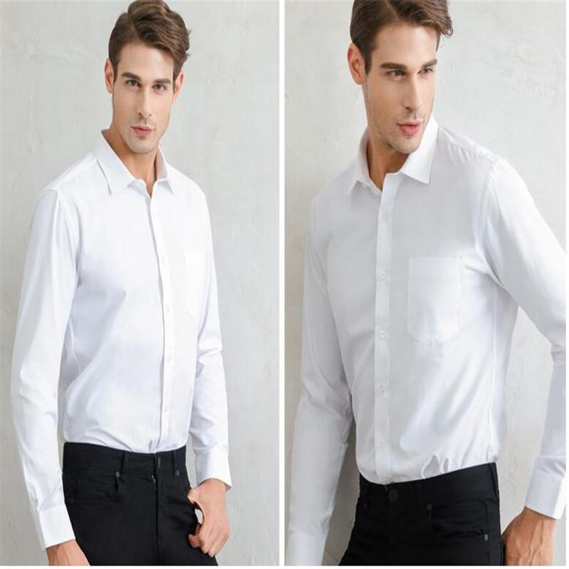 Weißes Herrenhemd mit langen Ärmeln / Günstige Slim Fit Hemden - Herrenbekleidung - Foto 4