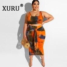 XURU summer new women's print dress two-piece sexy bag hip umbilical tie-dyed dress XL XL-4XL fat mom dress недорго, оригинальная цена