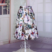 walson free shipping 2015 women new Retro Colorful Floral Print High Waist Pleated A line Skater