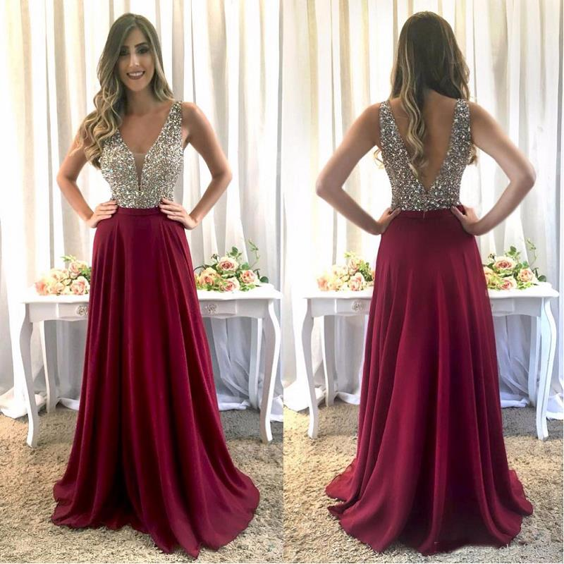 Modest Arabic Sparkly   Prom     Dresses   2019 vestidos de fiesta de noche Beaded Crystal Open Back   Prom     Dress   Formal Evening Gowns