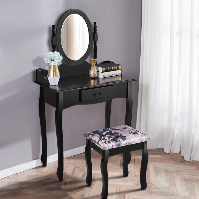 Vanité maquillage coiffeuse tabouret ensemble blanc noir haute qualité maquillage Table chaise chambre meubles