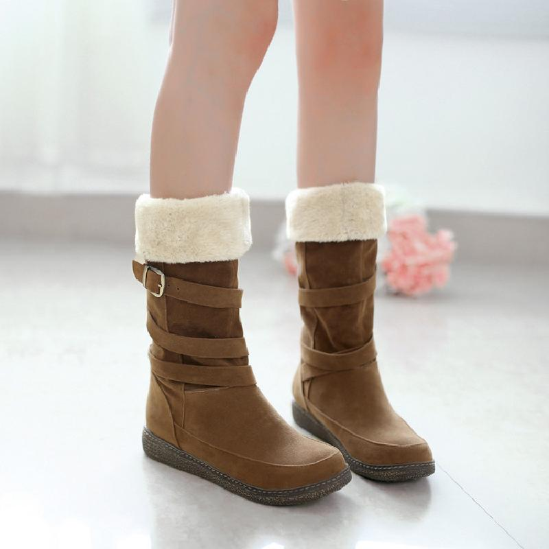 winter boots women snow boots shoes woman fashion flat heel female slip on plush warm mid-calf boots girls free shipping &1202