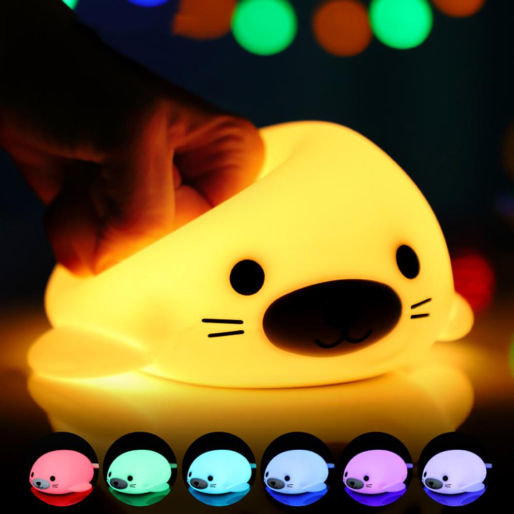 Timing Turn Off Seal Shape LED USB Rechargeable Home Sofa Bedroom Night Light Table Lamp Decor Touch The Nose To Change 7 Colors