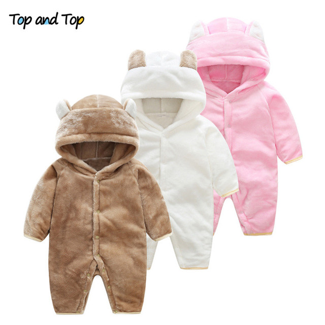 0869ad08ca66 Top and Top Winter Unisex-Baby Cartoon Animal Bear Long Sleeved Rompers  Hooded Flannel Toddler Fleece Jumpsuit