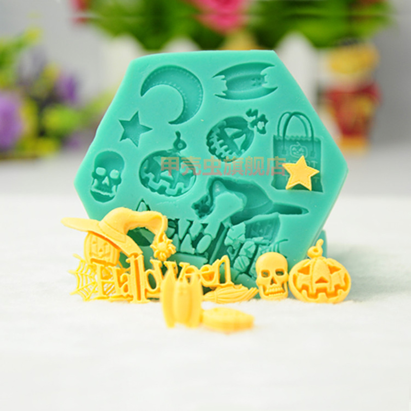 1pcs patisserie reposteria Halloween Skull Ghost Witch Silicone Lace Mold Pastry Shop Fondant Cake Decoration Tools Cupcake DIY