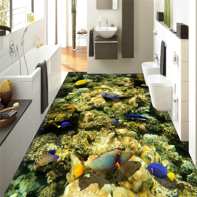 Beibehang onderwater wereld coral fish badkamer vloer badkamer 3D ...