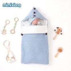 Детские спальные мешки, зимняя теплая муфта для младенцев, детская коляска, конверты, одноцветная вязаная детская Пеленка, спальный мешок 75*...