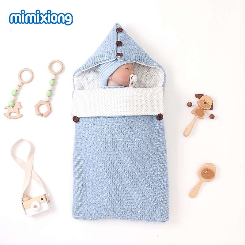Baby Sleeping Bags Winter Warm Footmuff For Infant Kids Stroller Envelopes Solid Knitted Children Swaddle Wrap Sleepsack 75*35cm